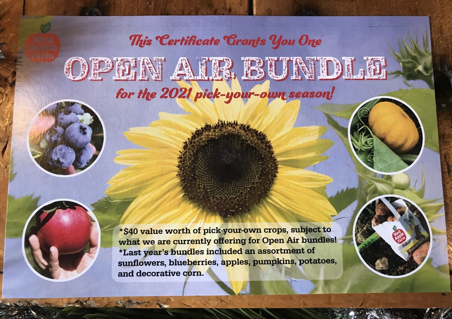 OPEN AIR PACKAGE Gift Certificate