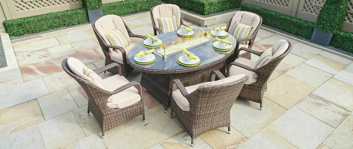 Wicker 6 Seat Oval Gas Fire Pit Dining Table With Eton Chair