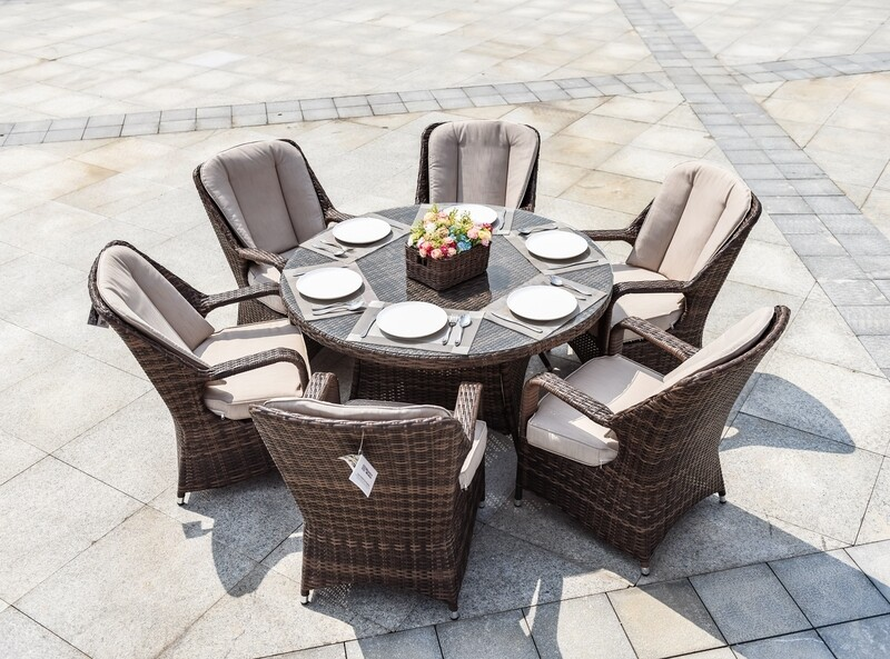 Wicker Cinderella Patio Wicker 7 Piece Round Dining Set