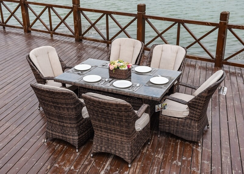 Wicker Waverly Patio Wicker 7 Piece Rectangular Dining Set