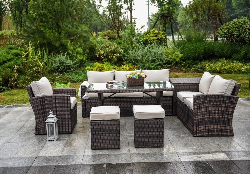 Wicker 7-Piece Wicker Outdoor Sectional Set with Beige Cushions