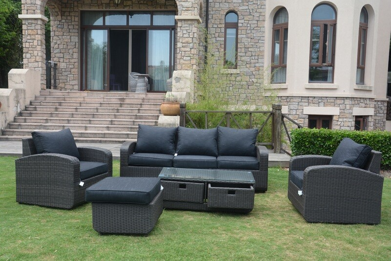 Wicker Pocahontas 5 Piece Patio Garden Furniture Sofa Set