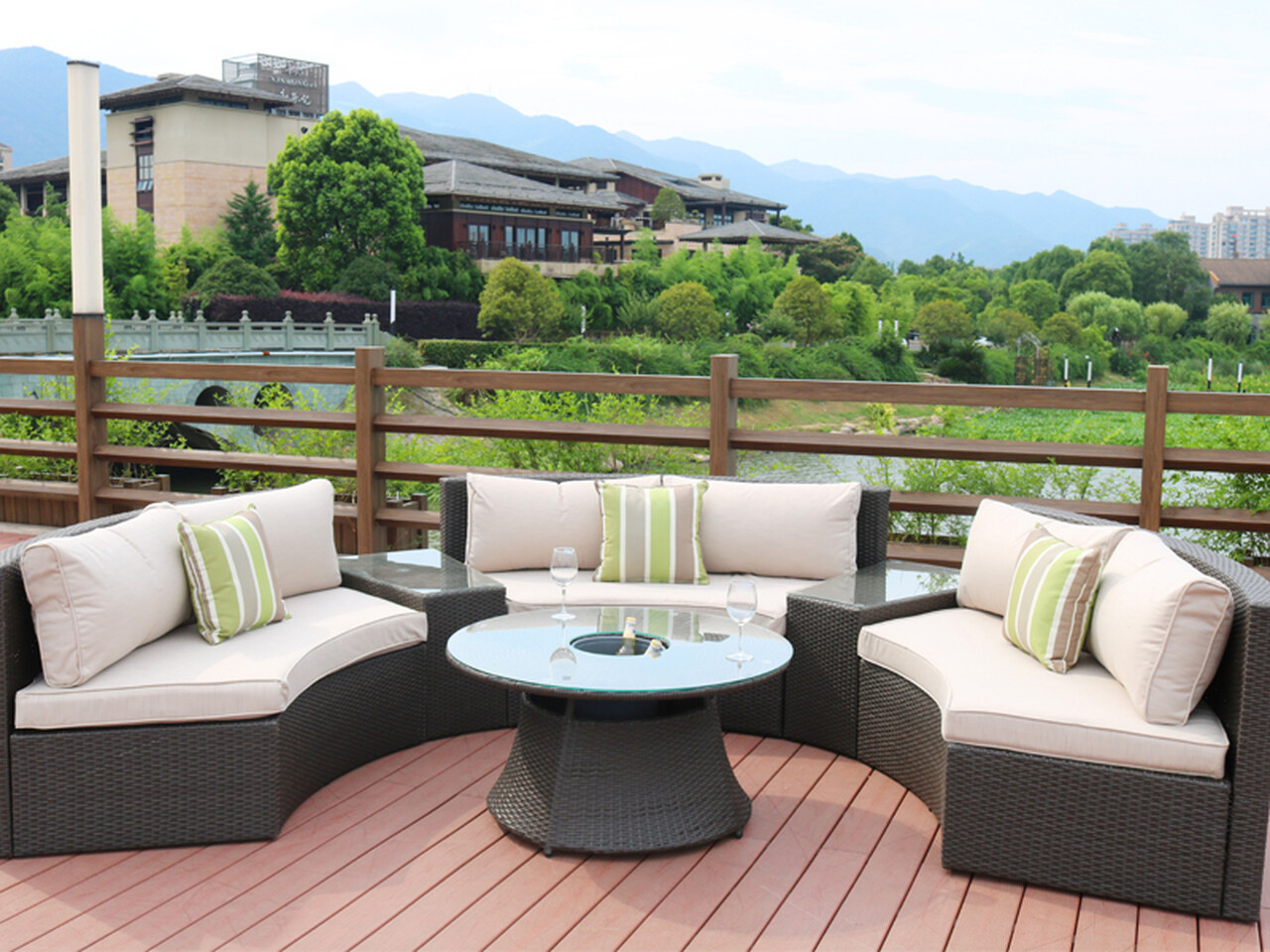 Jessie 6 Piece Rattan Sectional Set with Chill Table