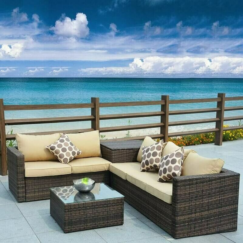 Jasmine 4 Piece Wicker Designed Patio Sectional Sofa Set with Storage Box