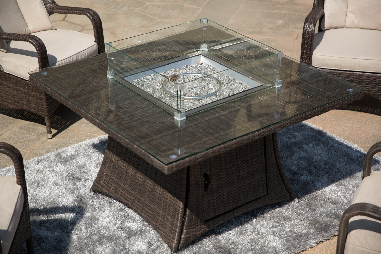 Wick's Four Person Fire Pit Dining Table Only