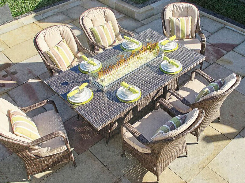 Wick's Rectangle Fire Pit Dining Table Only