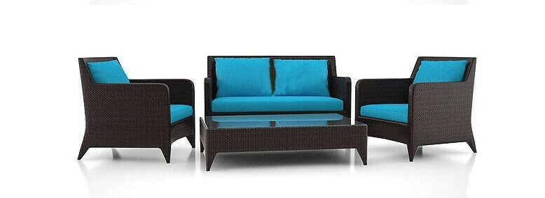 Alexa Loveseat and Rattan Chairs