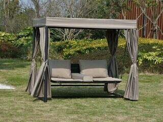 Direct Wicker Barcelona Swing Bed With Shelter and Curtains
