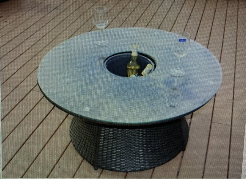 Round Coffee Table with Ice Bucket