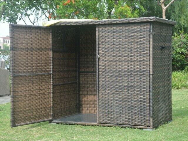 Outdoor Casual Patio Aluminum Frame Resin Wicker Storage Bin Deck Box