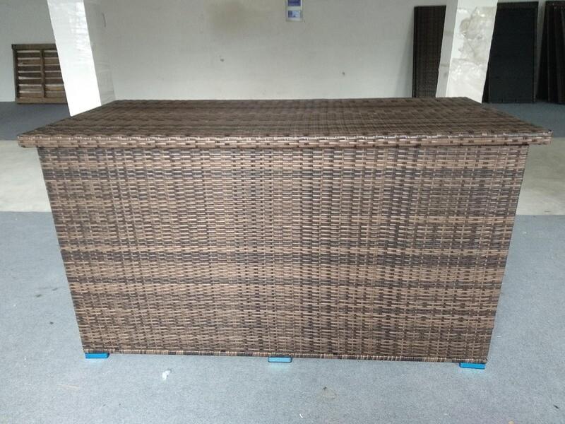 Patio Deck Box Outdoor Storage Decorative Wicker Garden Furniture Rattan Container Cabinet
