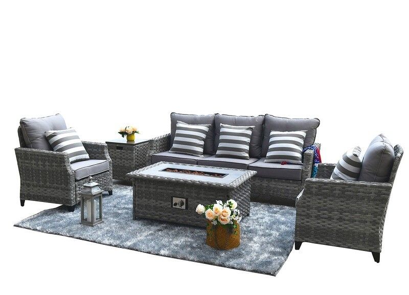 5-Piece Outdoor Wicker Patio Sofa Set with Gas Fire Pit Table