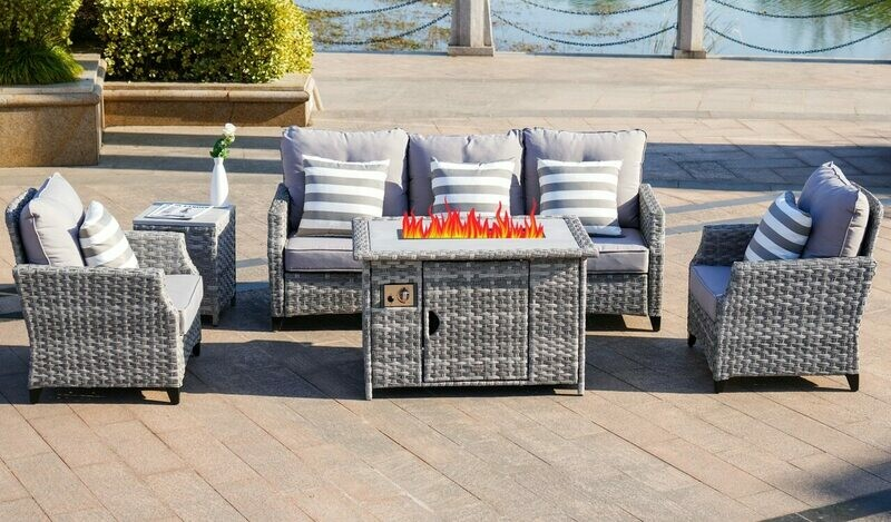 Upgrade and heighten 5-Piece Outdoor Wicker Patio Sofa Set with Gas Fire Pit Table