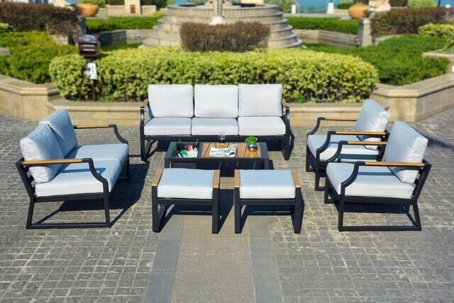 7-Piece Phosphating Treatment Iron Outdoor Sofa with Cushions