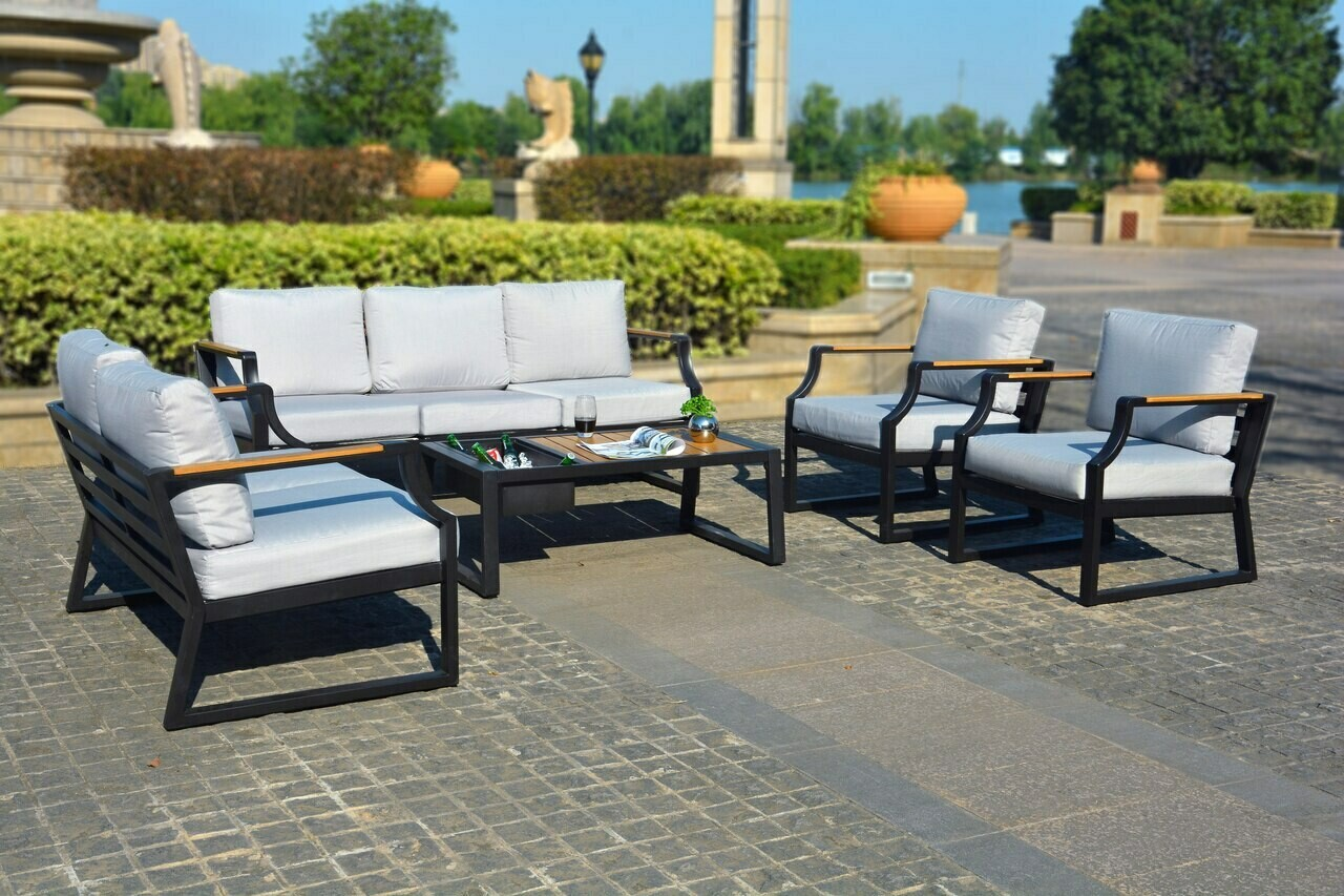 5-Piece  Outdoor Sofa with Cushions