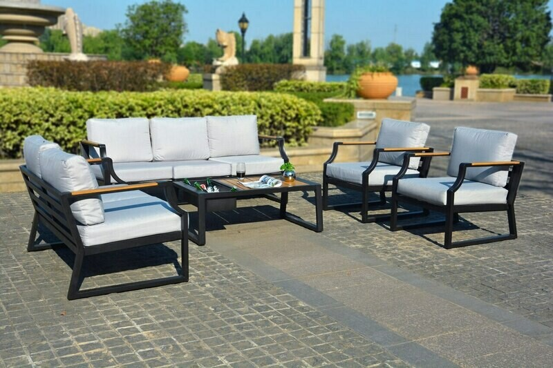 5-Piece Phosphating Treatment Iron Outdoor Sofa with Cushions