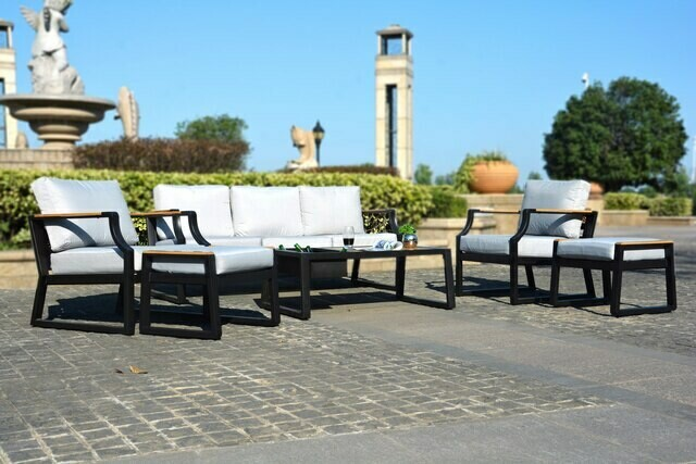 6-Piece Phosphating Treatment Iron Outdoor Sofa with Cushions