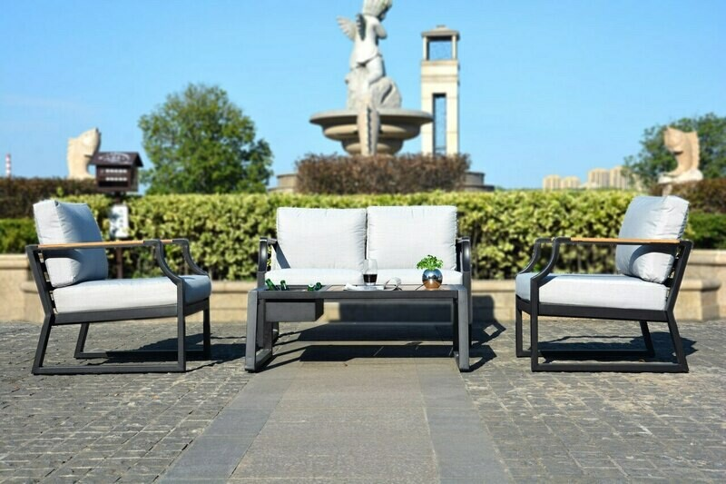 4-Piece Phosphating Treatment Iron Outdoor Sofa with Cushions