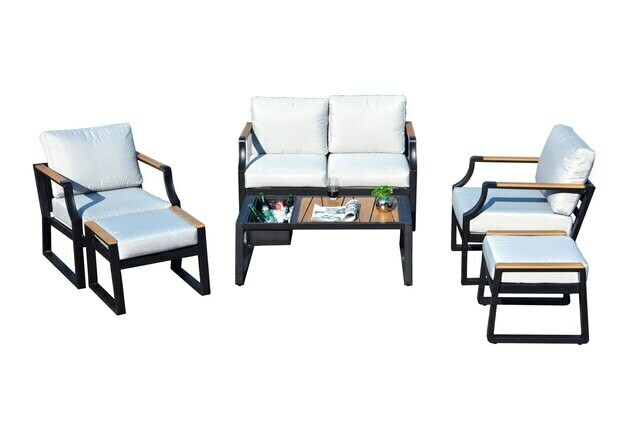 6-Piece Metal Outdoor Sofa with Cushions