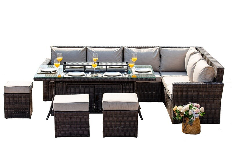 8-piece New Fashion Wicker Sofa Set with Gas Fire Rectangle Dining Table