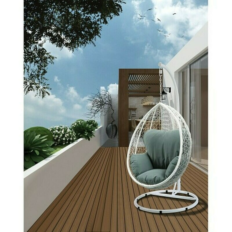 Patio Swing Chair with Stand in Green Fabric & Light White Wicker