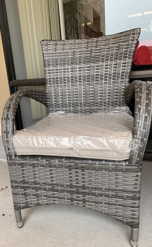 2 Piece Wicker Chair with Seat Cushion