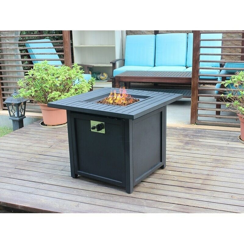 30'' Square  Slat Top Gas Fire Pit Table