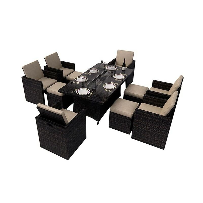 Brown Wicker 11-piece Outdoor Gas Fire Pit Dining Set