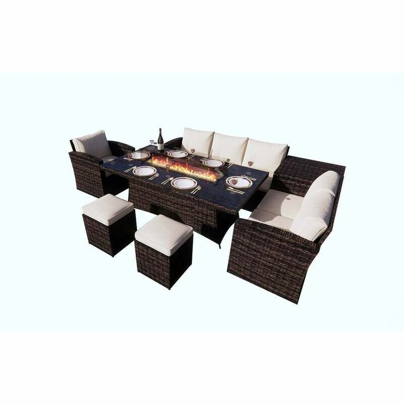 Gas Fire Rectangle Table Patio Wicker Dining Table with Sofa Set