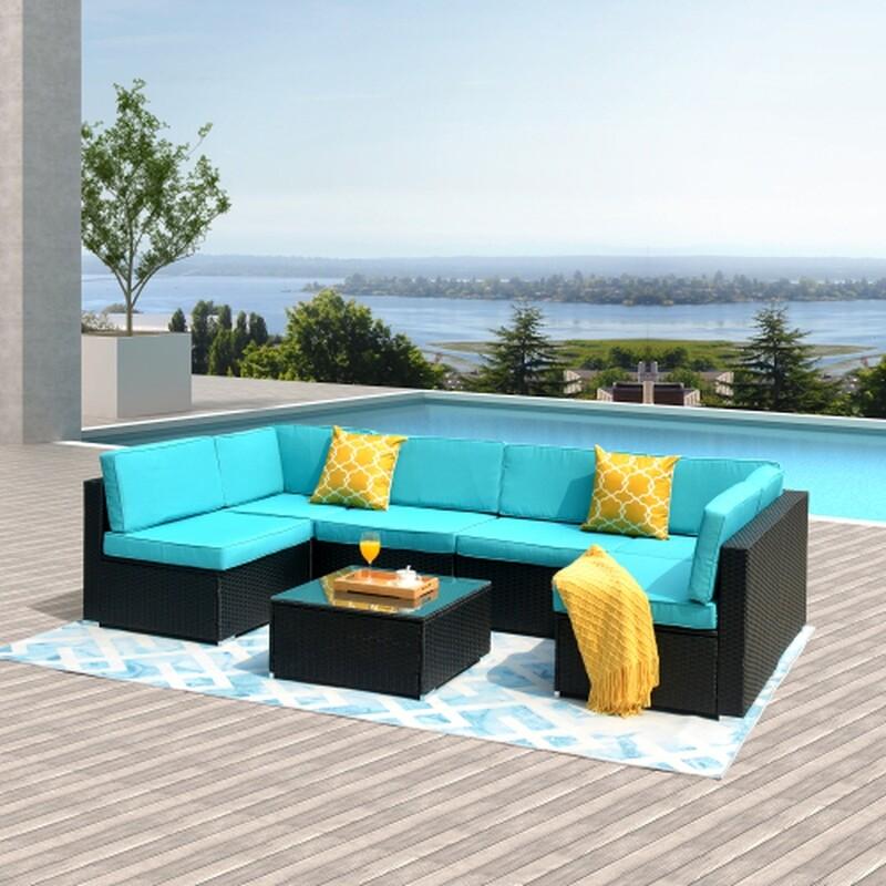 7-Piece PE Rattan Wicker Sectional Cushioned Sofa Set