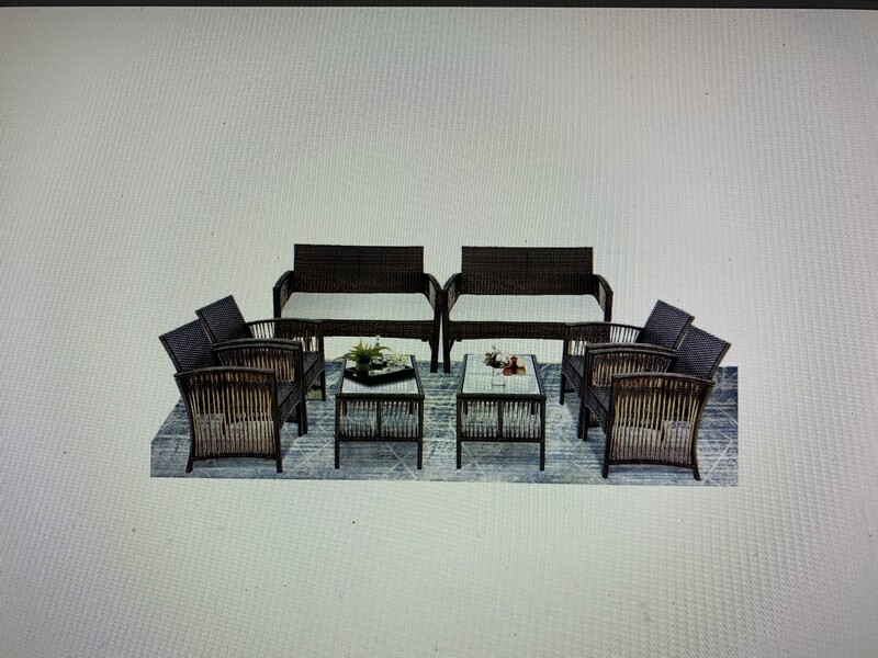 8-Pieces Furniture Rattan Outdoor Chair and Table