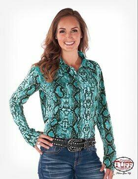 Turquoise Snakeskin Sport Jersey Long Sleeve