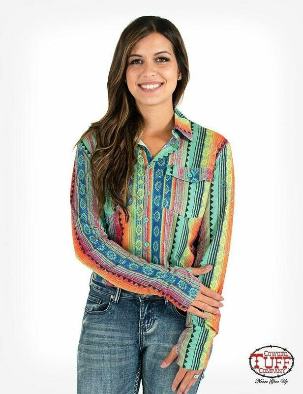 Rainbow Aztec print sport jersey pullover button-up