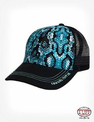 Turquoise Snakeskin Print Ballcap