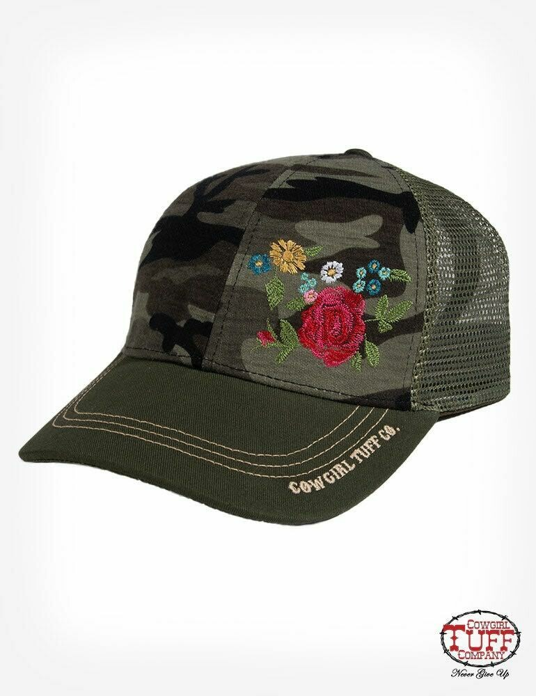 Camo Print Flower Ball Cap