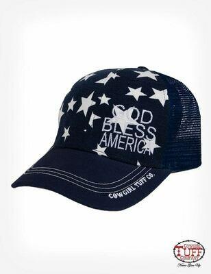 God Bless America Navy Star Ball Cap