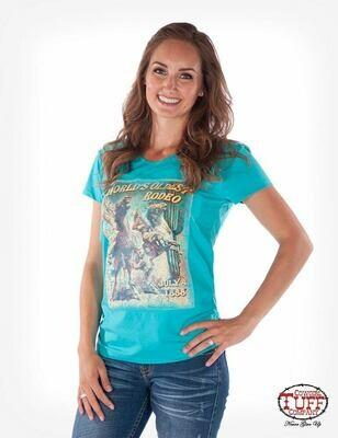 Turquoise short-sleeve v-neck tee with shredded back