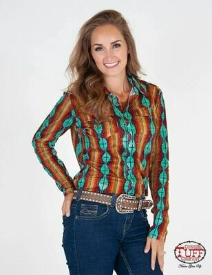 Coral and turquoise Aztec sport jersey pullover