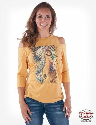 Gold 3/4 sleeve cold-shoulder tee