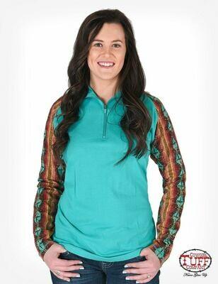 Turquoise cadet-zip pullover