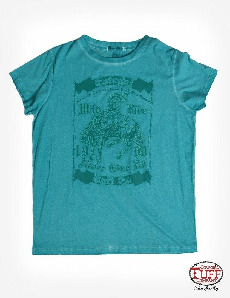 Turquoise short sleeve over-dyed tee