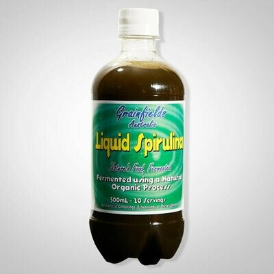 Probiotic Grainfields USA Liquid Spirulina 500ml 1 case of 12 bottles, 500 ml bottles