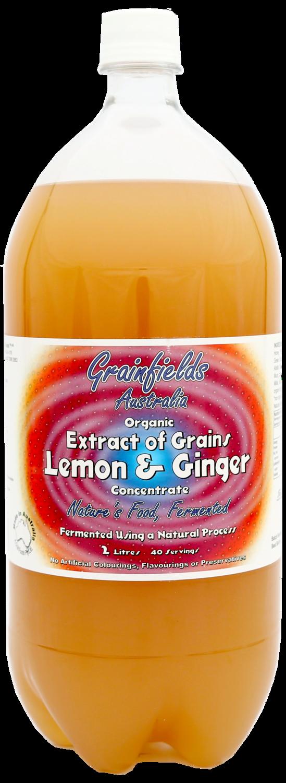 Probiotic Grainfields USA Lemon & Ginger Full spectrum Probiotics, digestive aid, pulmonary and circulation   2L USA 1 case of 6 bottles Grander® Treated