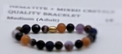 CoDS Vaxxinator Hematite+ Mixed Crystals Quality Bracelet Medium (Adult)