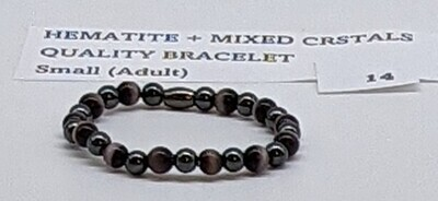CoDS Vaxxinator Hematite+Mixed Crystals Quality Bracelet Small (Adult)