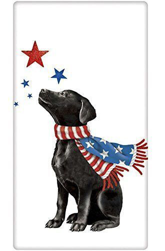 Patriotic Black Lab Floursack Towel