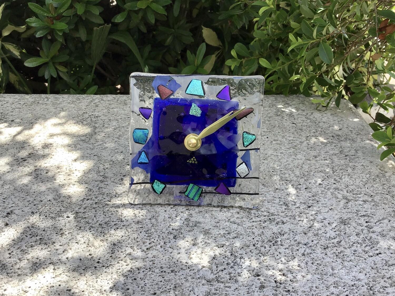 Dichroic Glass Wall/Desk Top Clocks