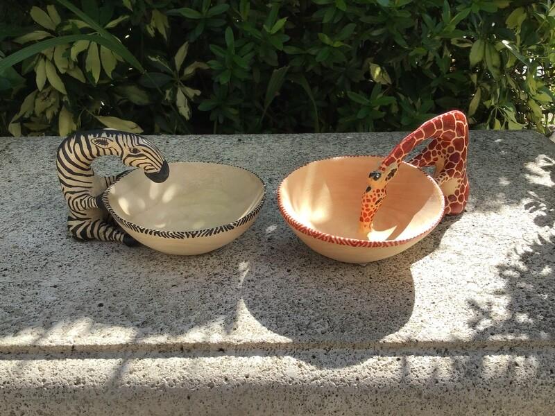 Drinking Wood Animal Bowls