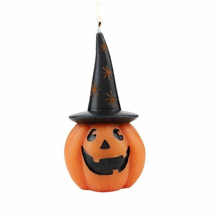 Halloween Pumpkin Candle with Witches Hat