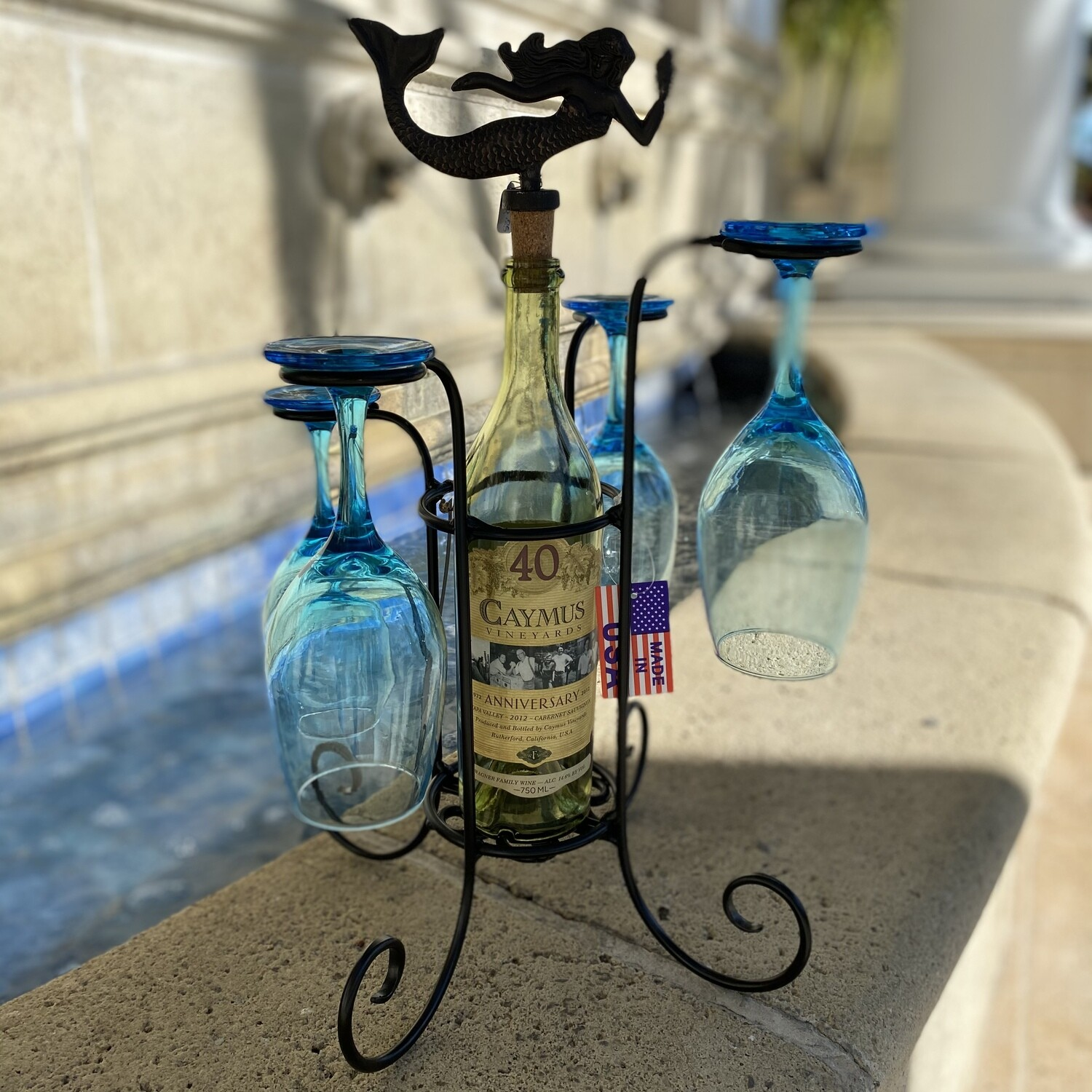 Waterfall Wine Bottle and Glass Caddy